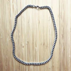 Vintage chunky silver cable chain necklace